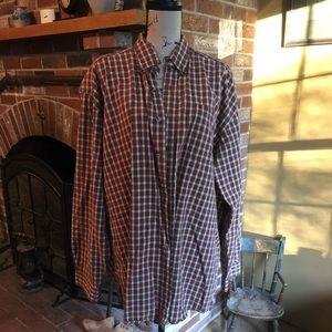 LL Bean reddish plaid shirt